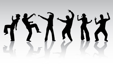 rap music: dancing people silhouette