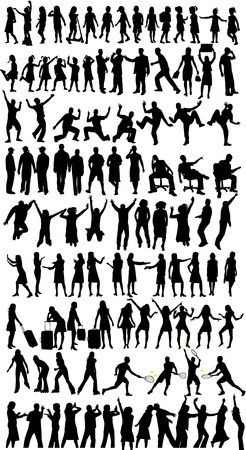 woman jump: Collection of silhouettes,