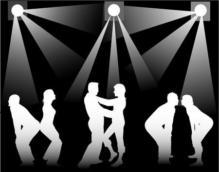 black man white woman: Dancing people