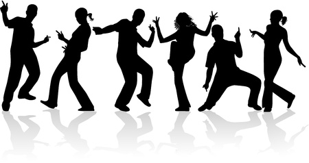 dancing silhouettes: Dancing people