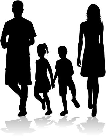 silueta ni�o: Silueta familiar Vectores