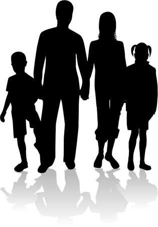 familles heureuses: Famille silhouette