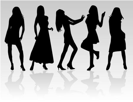 siluetas de mujeres: Moda Las mujeres de, Vectores