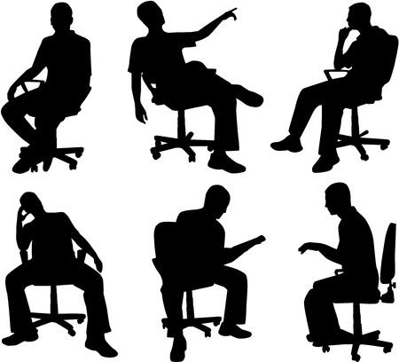 persona sentada: Hombre en posici�n sentada