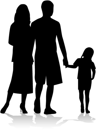 dad daughter: Family silhouette