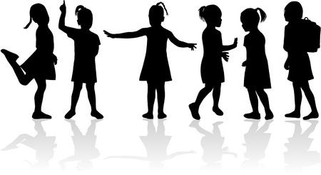 Silhouettes enfants Banque d'images - 10423331