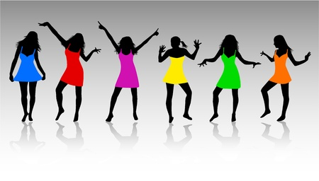 Girls Silhouettes Stock Vector - 10423335