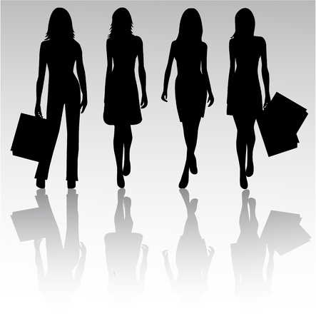 Girls Silhouettes  Vector