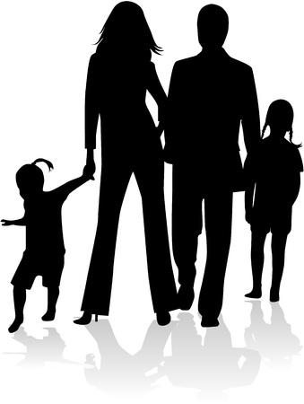 Familie silhouet, werk