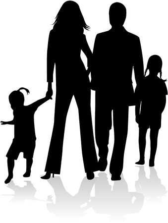 Family silhouette, work Vector
