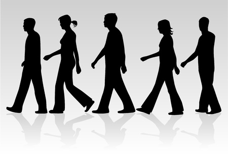 ocupation: March of people , vectors work