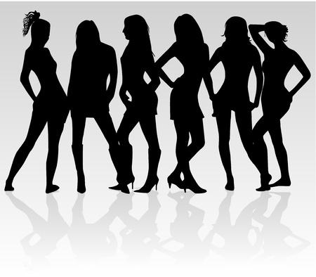 bailarines silueta: Chicas guapas - sombra