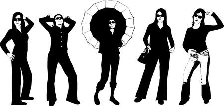 dance shadow: Beautiful girls - shadow