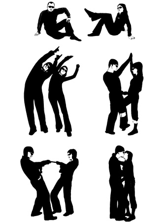 hands on hips: Silhouettes of People  Illustration