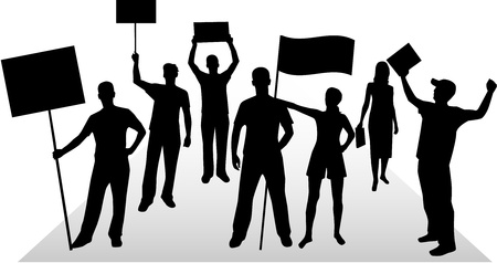 derechos humanos: La gente de demostraci�n - silueta de color negro