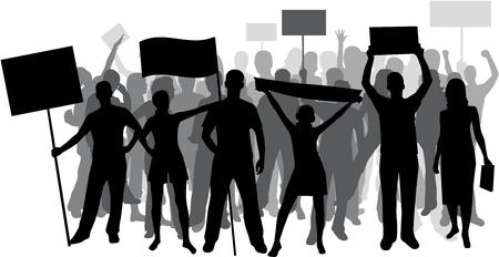 parade: Demonstration People - black silhouette  Illustration