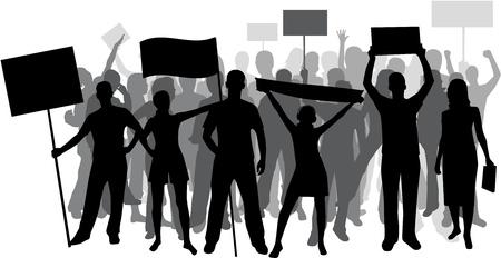 Demonstration People - black silhouette  Ilustrace