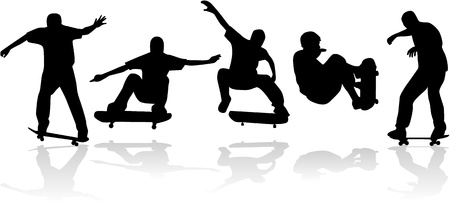 Skateboard silhouet (vector) Stock Illustratie