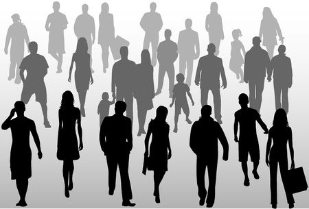 shadow people: People crowd, vectors work