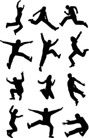 salto largo: Saltos de personas Vectores
