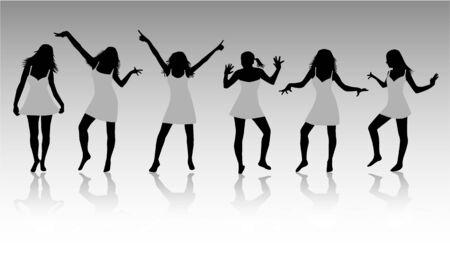 Girls Silhouettes Ilustrace