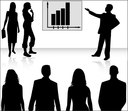 business woman standing: Business people and graph