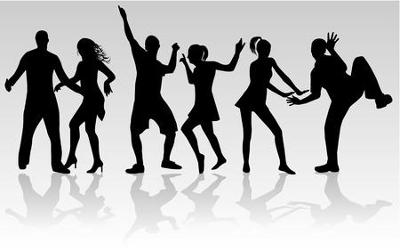 chicas bailando: La gente bailando, silueta, vectores de trabajo