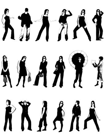 discotheque: Girls Silhouettes Illustration