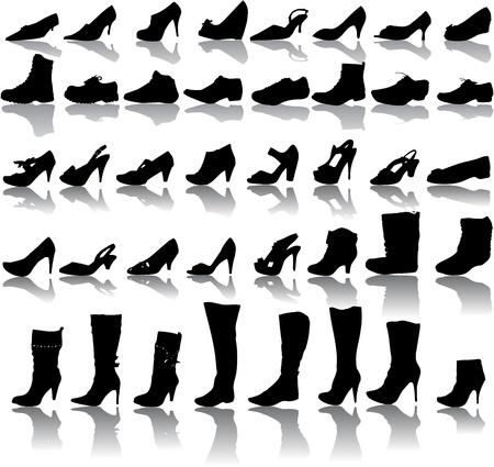 black shoe: ector boots  man , women   Illustration