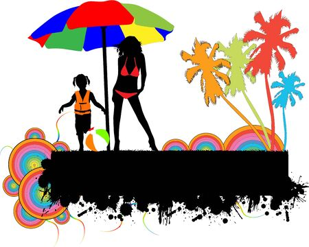 Colourful beach Vector