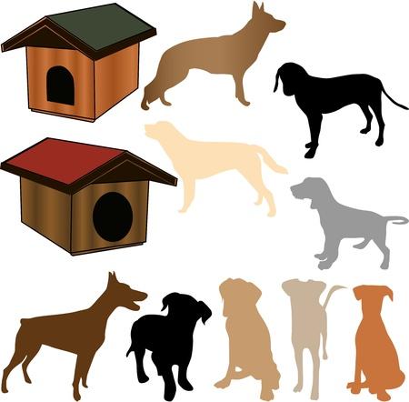 犬および犬小屋のシルエット