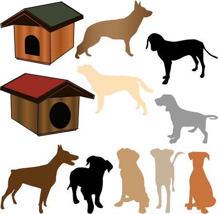 silhouette of a dog, and kennels