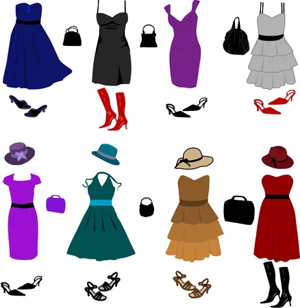 Evening dresses and accessories Vector