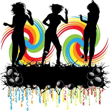 reaching: girls silhouette  Illustration