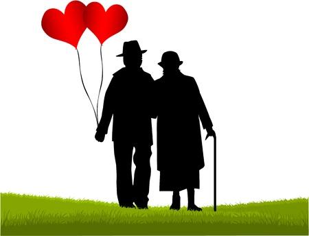 personas ancianas: Seniors - el gran amor Vectores