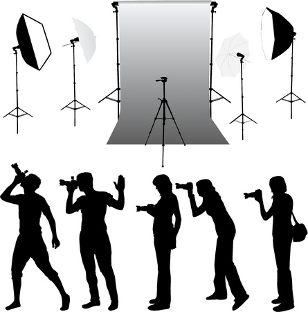 session: Photo accessories - studio equipment, working with vectors  Illustration