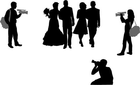 proposal of marriage: fotografare cerimonia nuziale Vettoriali