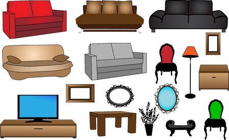 collectie meubelen-vector illustratie