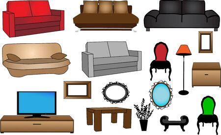 sofa furniture: collection of furniture-vector illustration