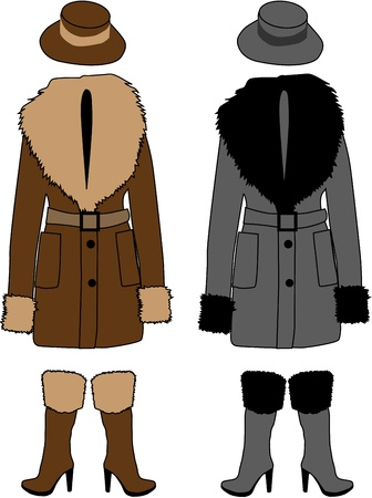 winter clothes: sheepskin coat Illustration