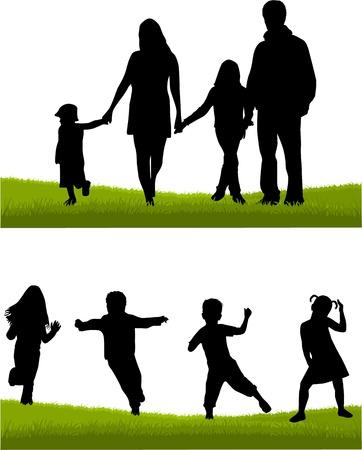 Familie - ouders en kinderen Stock Illustratie