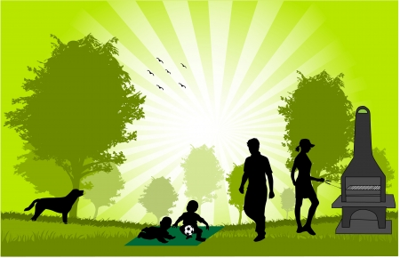 pareja comiendo: Familia de picnic en el jardín - ilustración