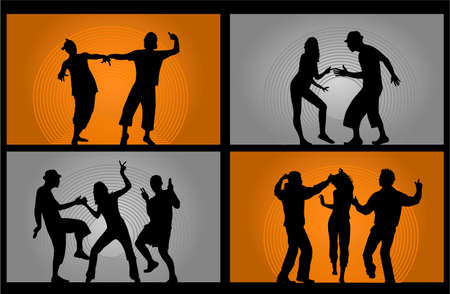 girl shadow: Party People Dancing - vector illustration