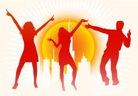 City Scene - People Dancing  Vector