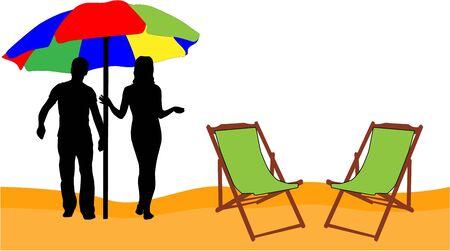 -休日はビーチでリラックスします。  イラスト・ベクター素材
