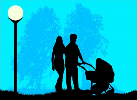 Parents with a child walking in the pram Vector