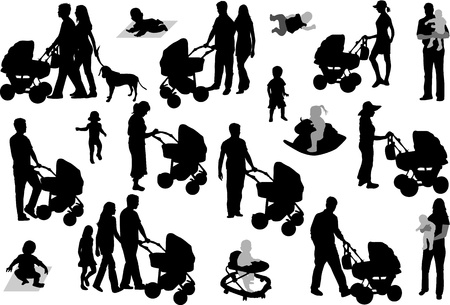 children silhouettes: Set of family silhouettes.