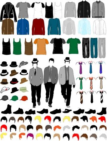 Men Dress Collection, vector werk Stock Illustratie