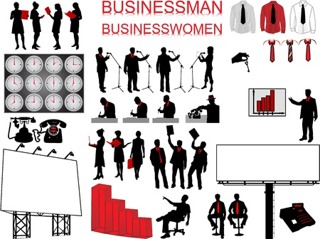 Business concept - people and icons Vector