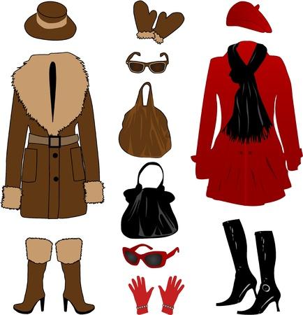 Vector illustration of modern formal dresses